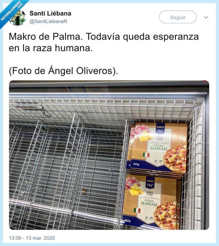 acopio,coronavirus,makro,pizza con piña