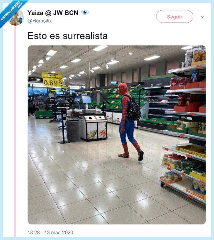 coronavirus,cuarentena,spiderman,supermercado