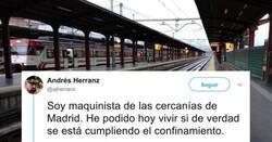 Enlace a Un maquinista de cercanías de Madrid relata cómo él ve que la gente se está tomando el confinamiento