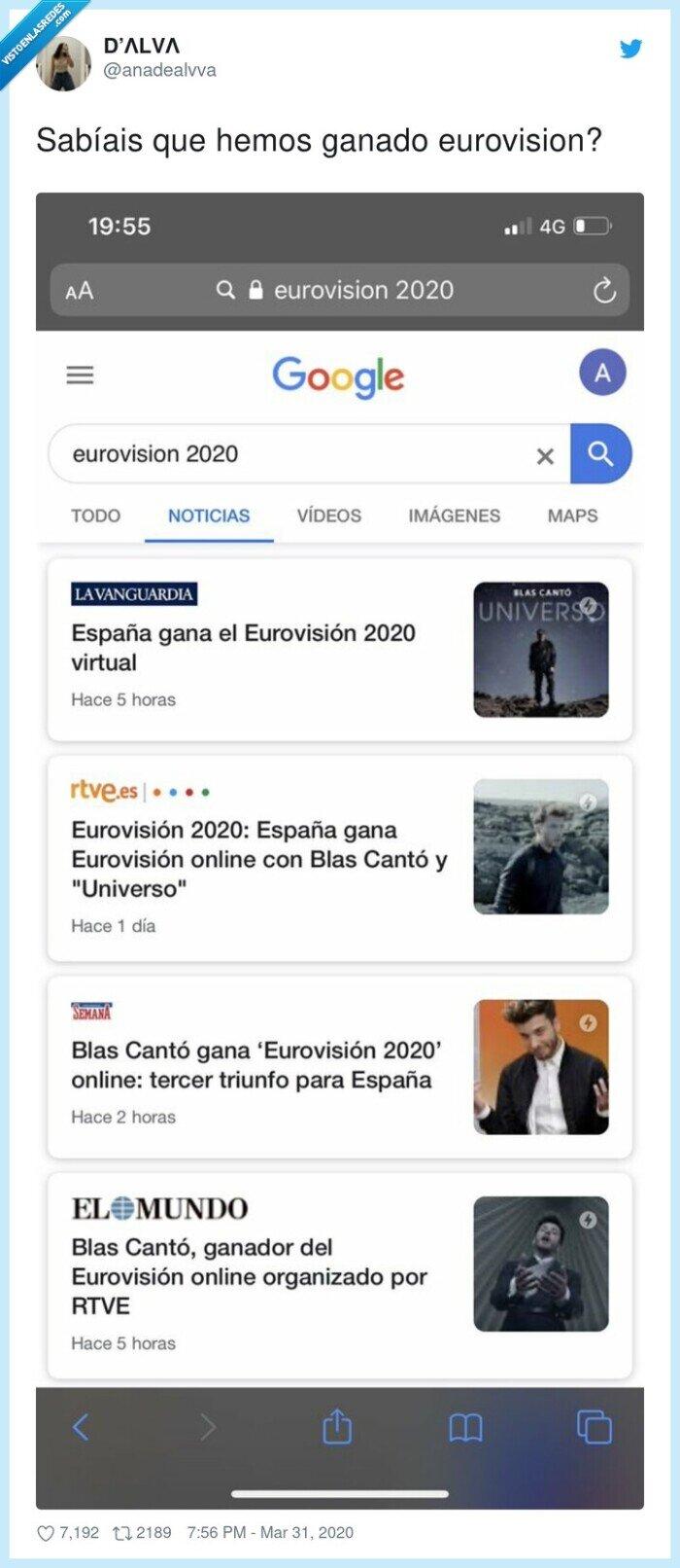 blas cantó,coronavirus,eurovision,ganador