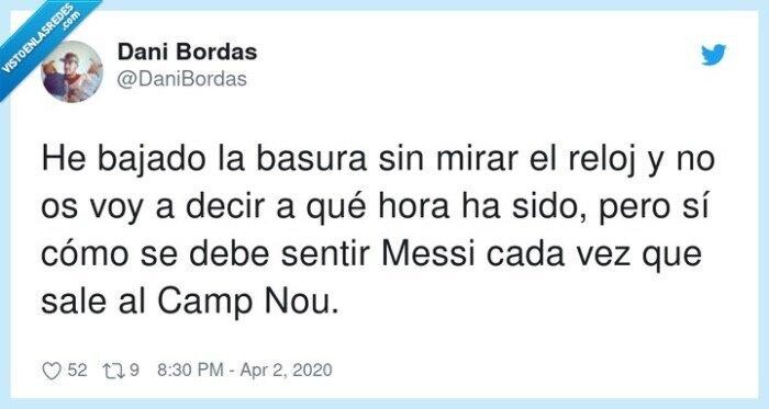 bajar,basura,Messi,mirar,reloj,sentir