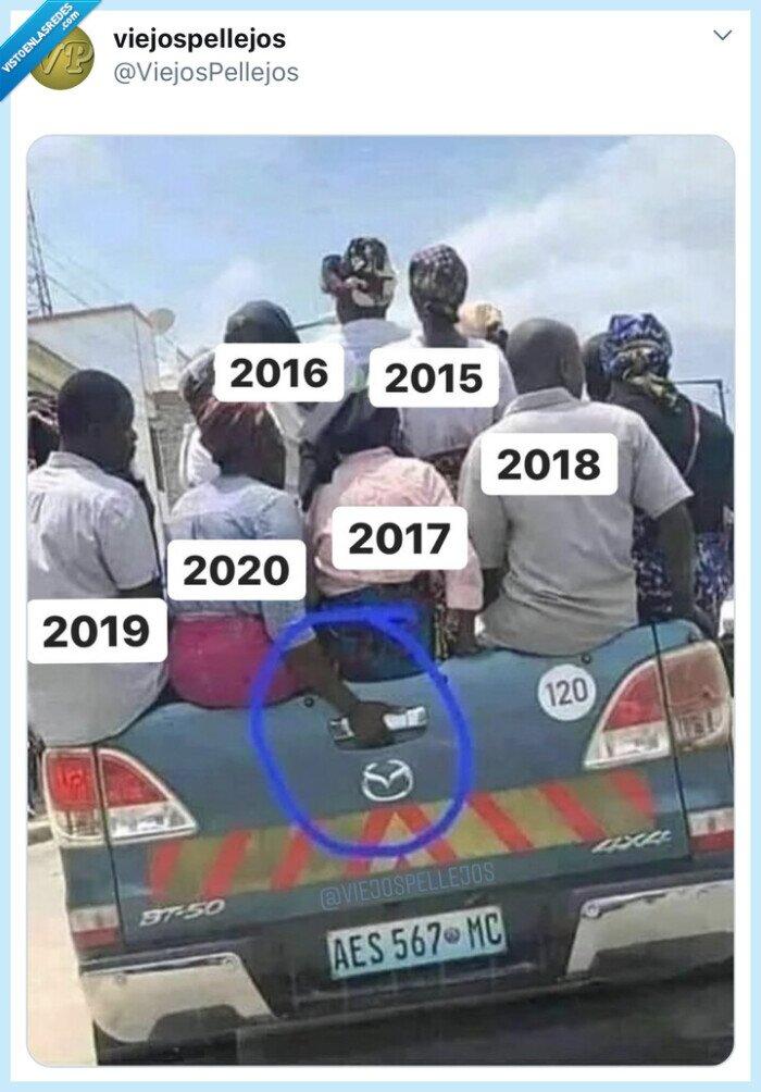 2020,año,asa,coche,humor,maletero