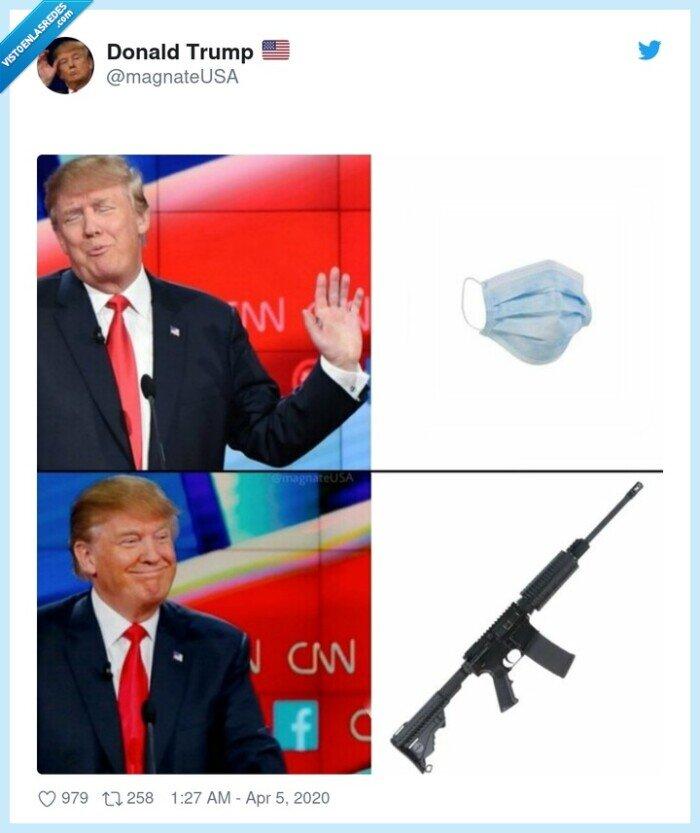arma,donald trump,mascarilla,pistola
