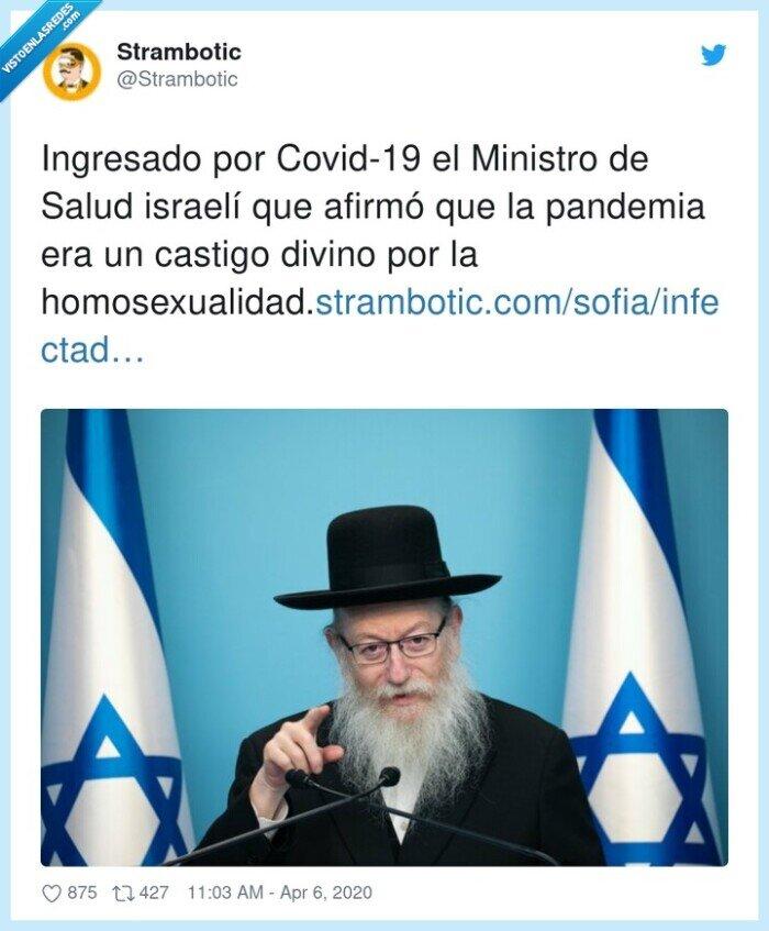 Covid-19,homosexualidad,Ingresado,israelí,Ministro,pandemia