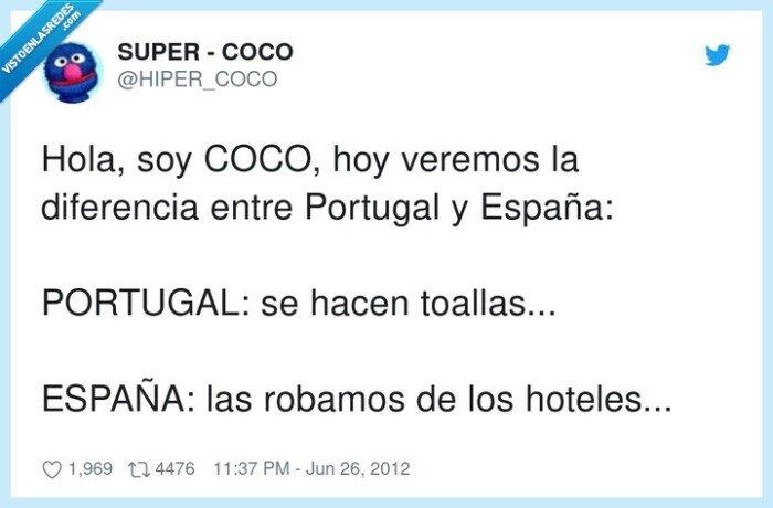 diferencia,España,Portugal,robamos,toallas,veremos