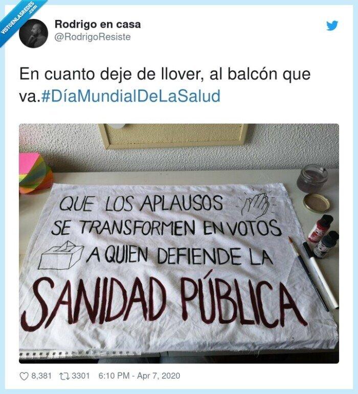balcón,DíaMundialDeLaSalud,llover,sanidad,votar