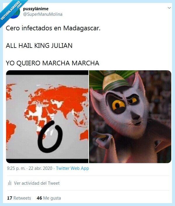 coronavirus,infectados,madagascar,rey julián