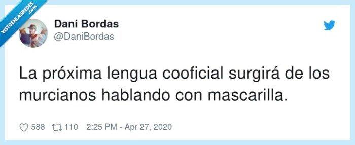 cooficial,lengua,mascarilla,murcianos