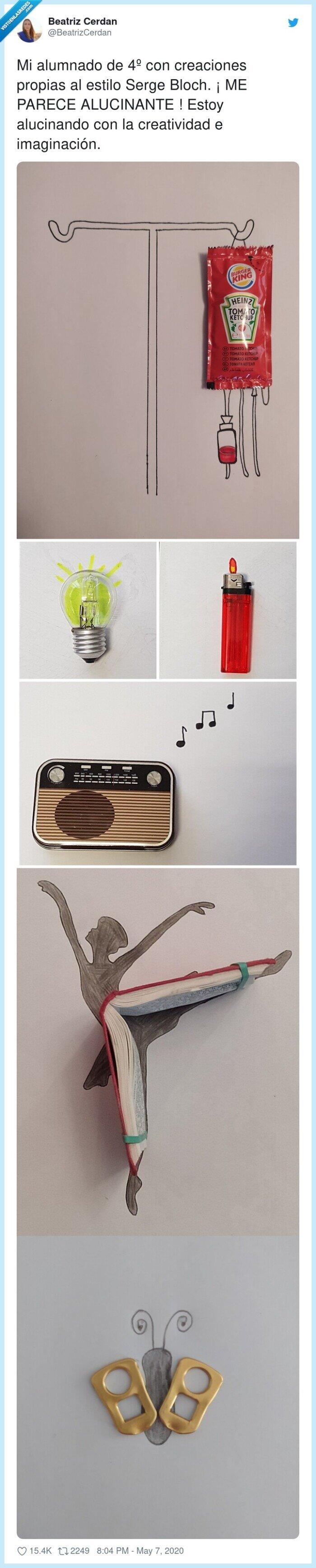 575815 - Sus alumnos de 4 de ESO hacen unas creaciones con lo que tienen en casa dignas de museo, por @BeatrizCerdan