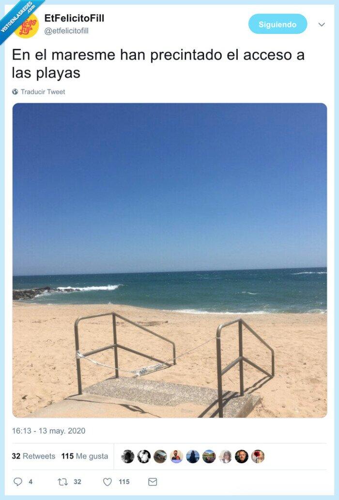 cinta,maresme,playas,precintado