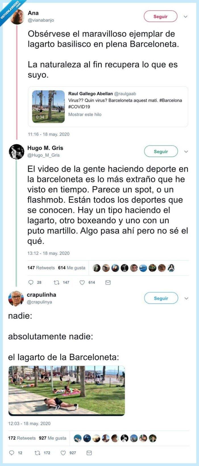583080 - El video de la gente haciendo deporte en la Barceloneta es lo más extraño que verás en mucho tiempo, y los memes son aún mejores