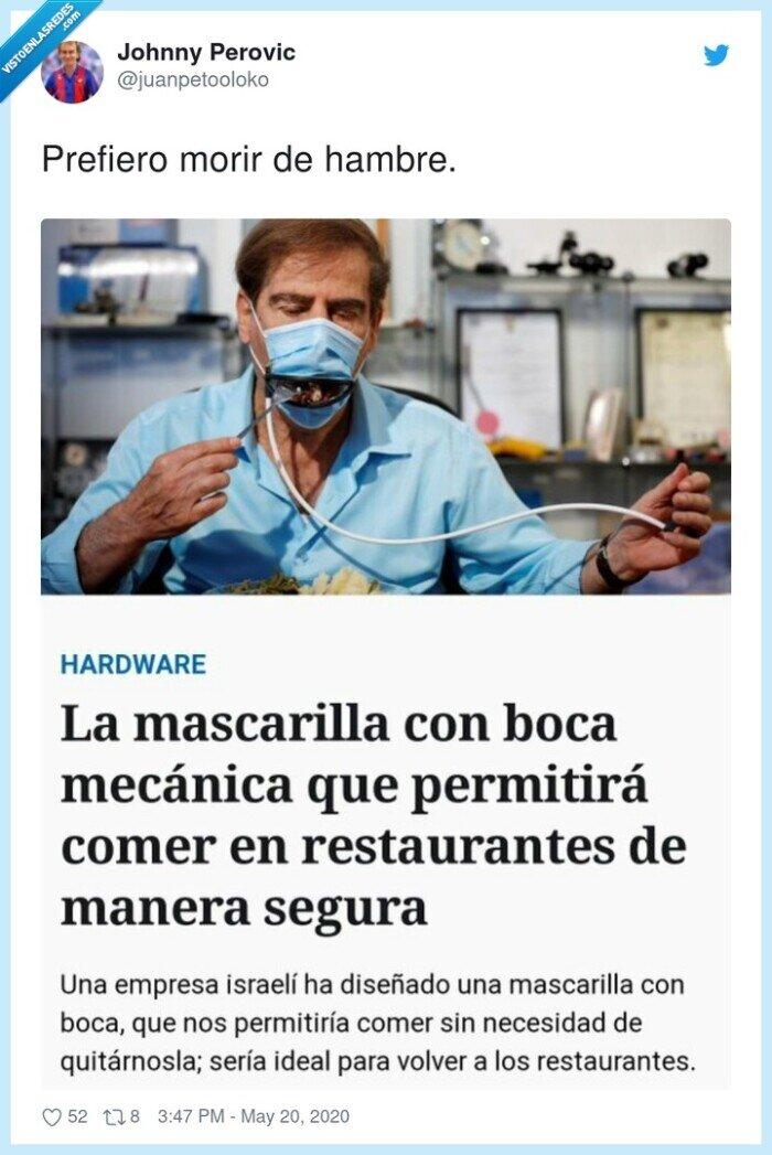 boca mecánica,comer,mascarilla