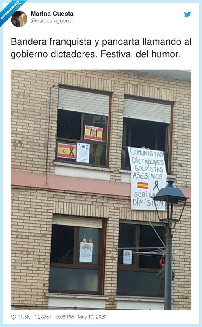 dictadores,festival,franquista,gobierno,llamando,pancarta