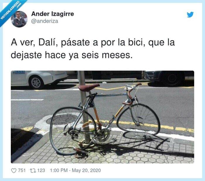 aparcada,arte,bicicleta,dalí,desmontada