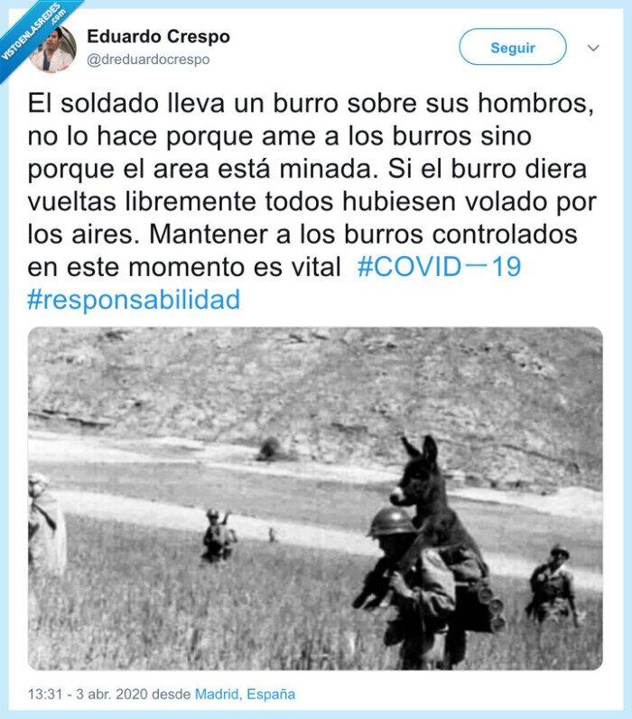 a cuestas,burro,coronavirus,pandemia,soldado