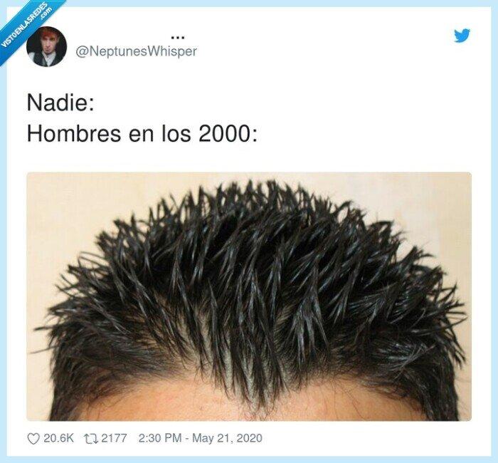 2000,de punta,gomina,hombres,nadie,peinado