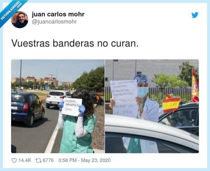 banderas,curan,manifestación,vox,vuestras