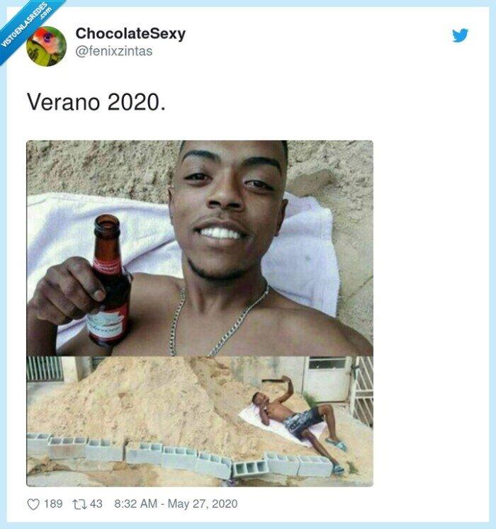 2020,cuarentena,fake,playa,tomar el sol,verano