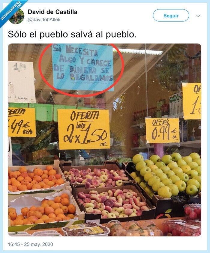 comprar,pueblo,regalar,salvar,supermercado