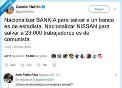 Enlace a Rufián propone nacionalizar Nissan y se lo llevan por delante con carretilla