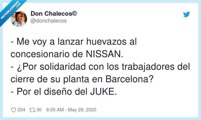 barcelona,concesionario,huevazos,nissan juke,solidaridad,trabajadores