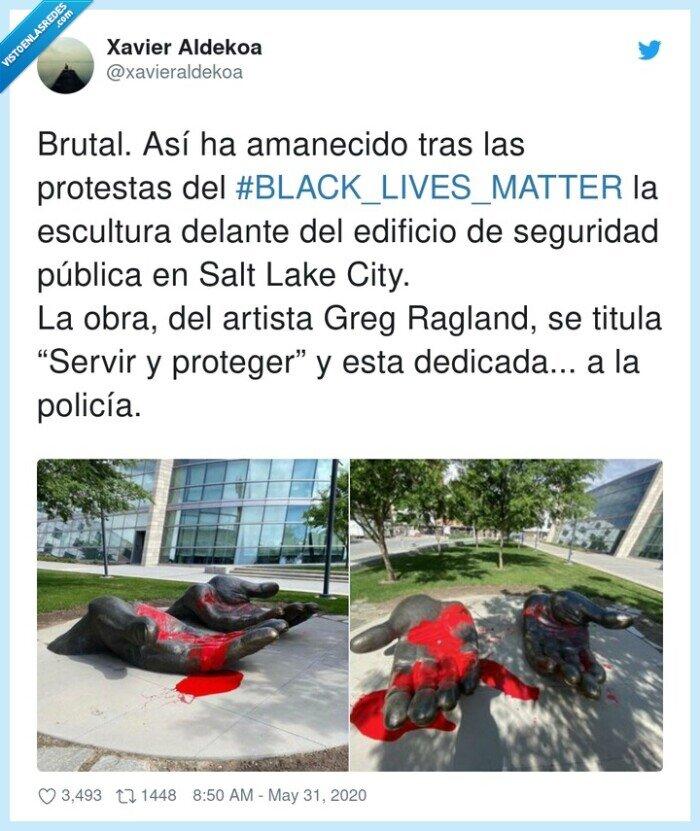 #blacklivesmatter,escultura,proteger,protestas