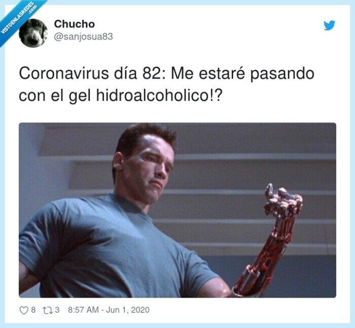 coronavirus,gel,hidroalcoholico,terminator