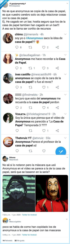 596062 - Para perder la fe: hay mucha gente que cree que Anonymous se inspiró en la Casa de Papel