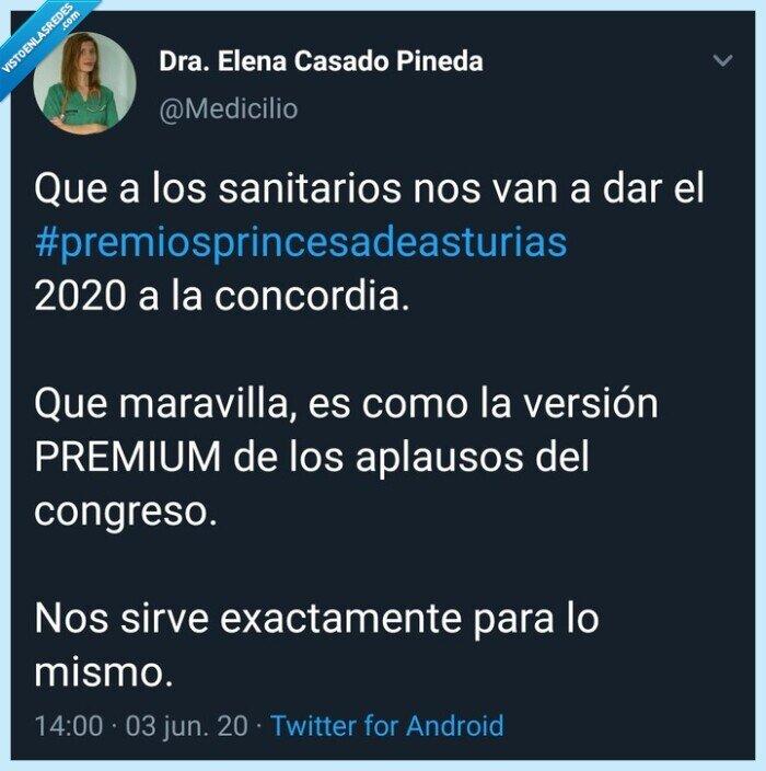 Así va España,premio princesa de asturias,sanidad,sanitarios,Twitter