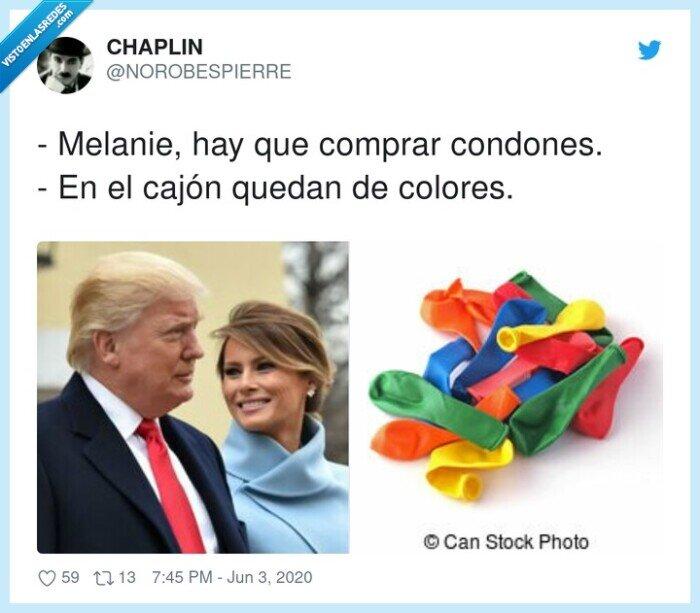 cajón,colores,comprar,condones,donald trump,melanie