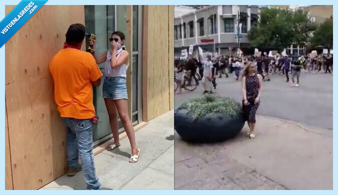 597624 - Indignación en las redes por los influencers que están haciéndose fotos de postureo en los disturbios de EE UU