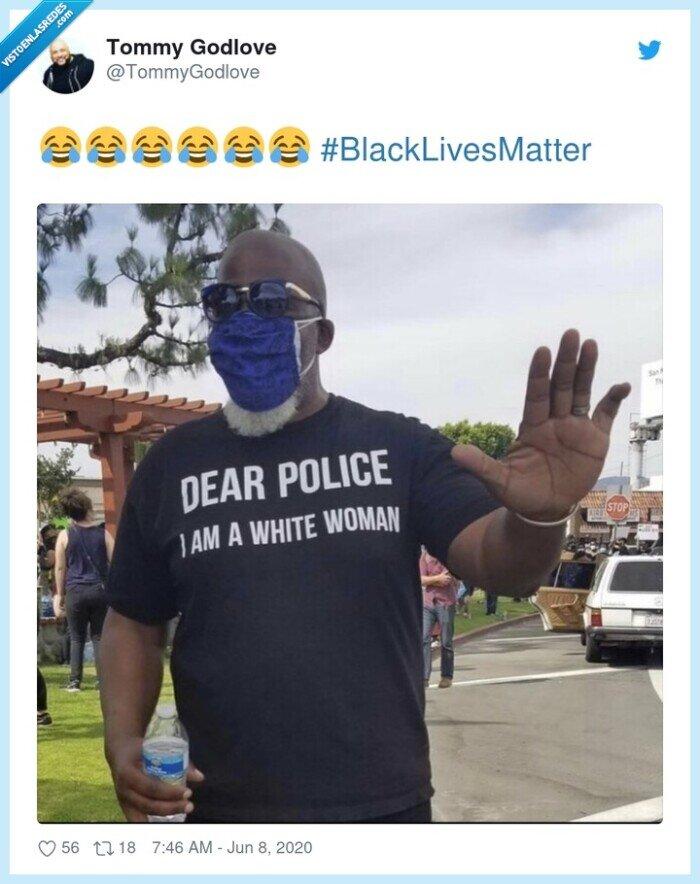 #blacklivesmatter,blanca,camiseta,mujer,negro