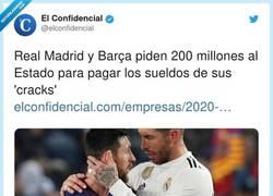 Enlace a Real Madrid y Barça piden 200 millones al Estado para pagar los sueldos de sus cracks y twitter les deja las cosas claras