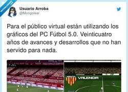 Enlace a LaLiga vuelve con público virtual como el PCFútbol, por @Mongolear