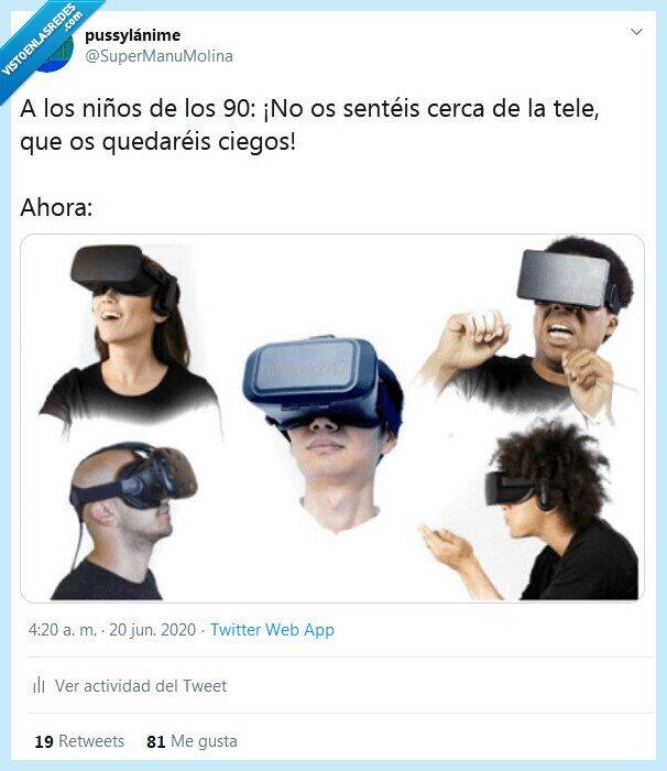 90,cerca,niños,realidad virtual,tele
