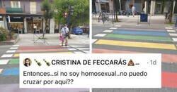 Enlace a Zasca a este personaje que se niega a cruzar un paso de peatones pintado con los colores del orgullo