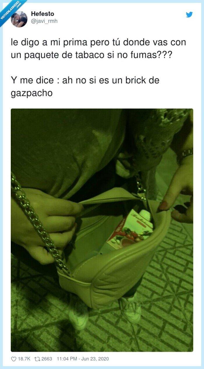 bolso,gazpacho,paquete,prima,tabaco