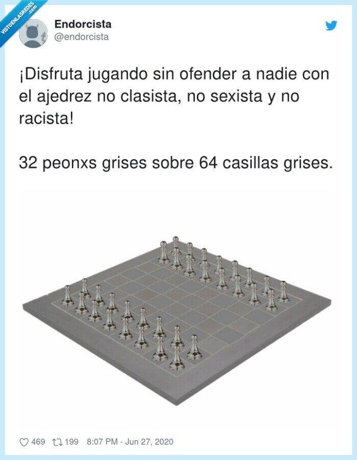 ajedrez,casillas,clasista,disfrutar,jugando,ofender
