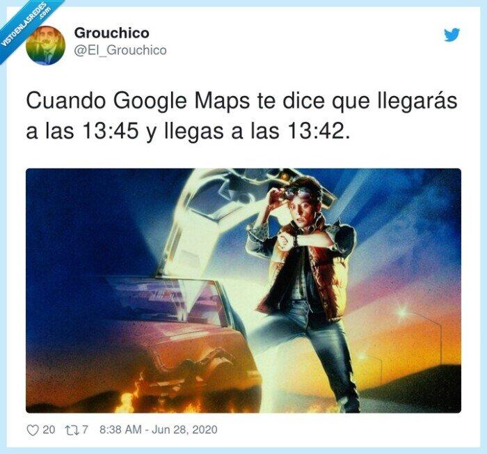 google maps,tiempo,velocidad
