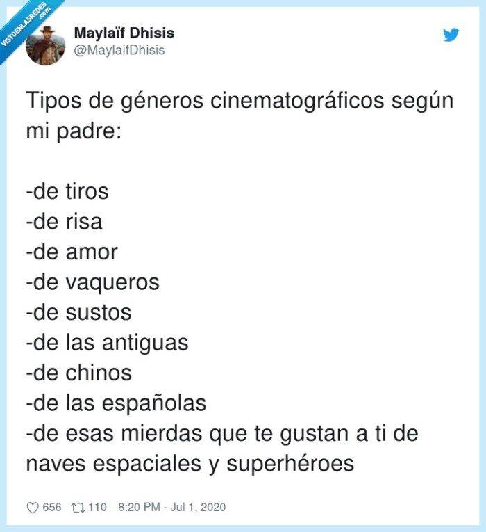 cinematográficos,espaciales,españolas,géneros,superhéroes,vaqueros
