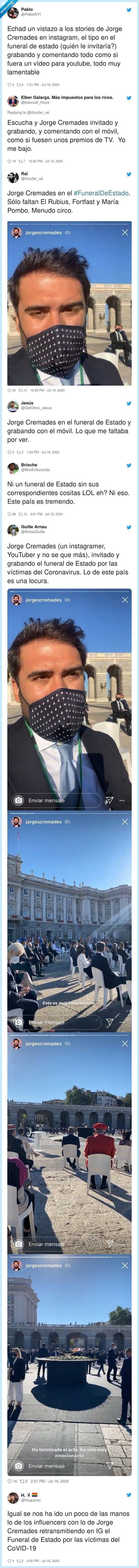 631607 - Indignación e incredulidad con Jorge Cremades: le invitan al funeral de estado por las víctimas del coronavirus y se pone a grabar stories