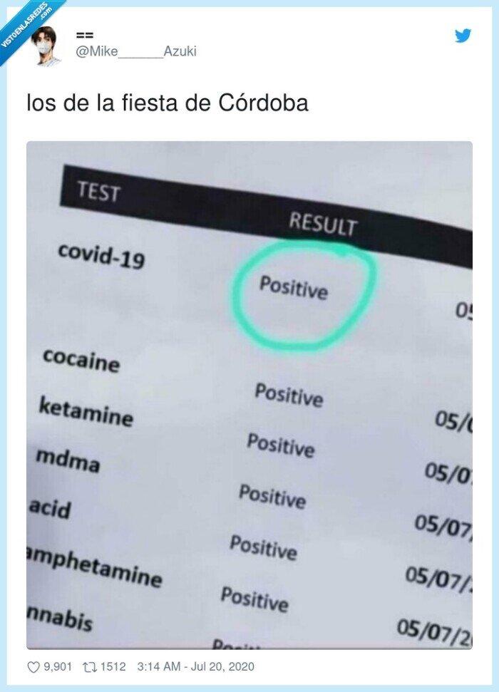 córdoba,coronavirus,fiesta,positivo