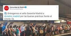 Enlace a Le dan un premio al Metro de Madrid por sus prácticas contra el coronavirus y los usuarios se revelan mostrando pruebas que lo desacreditan