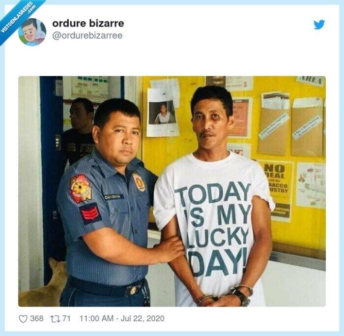 detenido,día,policía,suerte