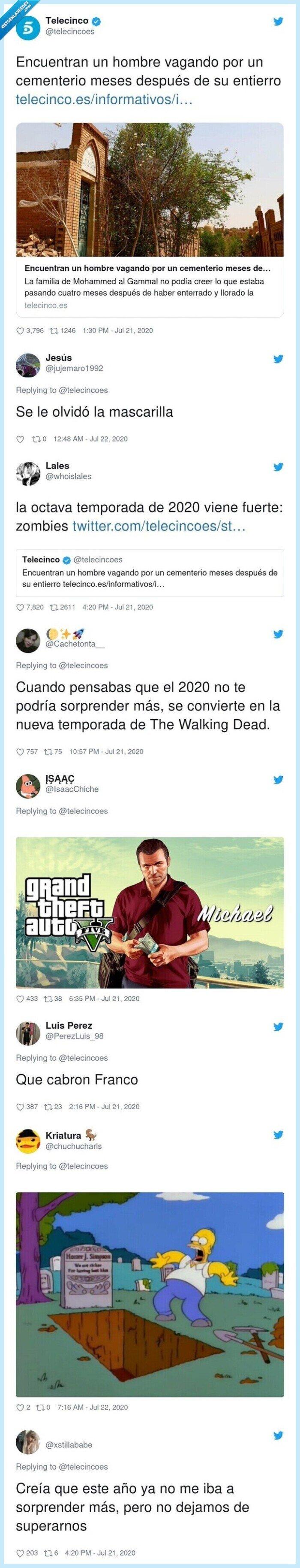 caminando,entierro,hombre,vagando,vivo,zombie