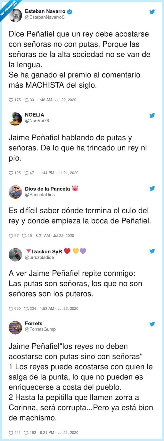 636889 - Peñafiel se corona con el comentario machista de la semana sobre los escándalos sexuales del Rey emérito y Twitter lo pone a caldo