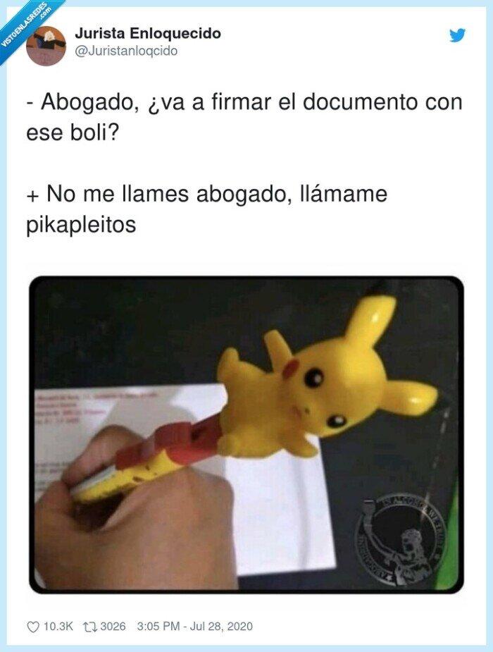 abogado,bolígrafo,documento,pikachu,pikapleitos