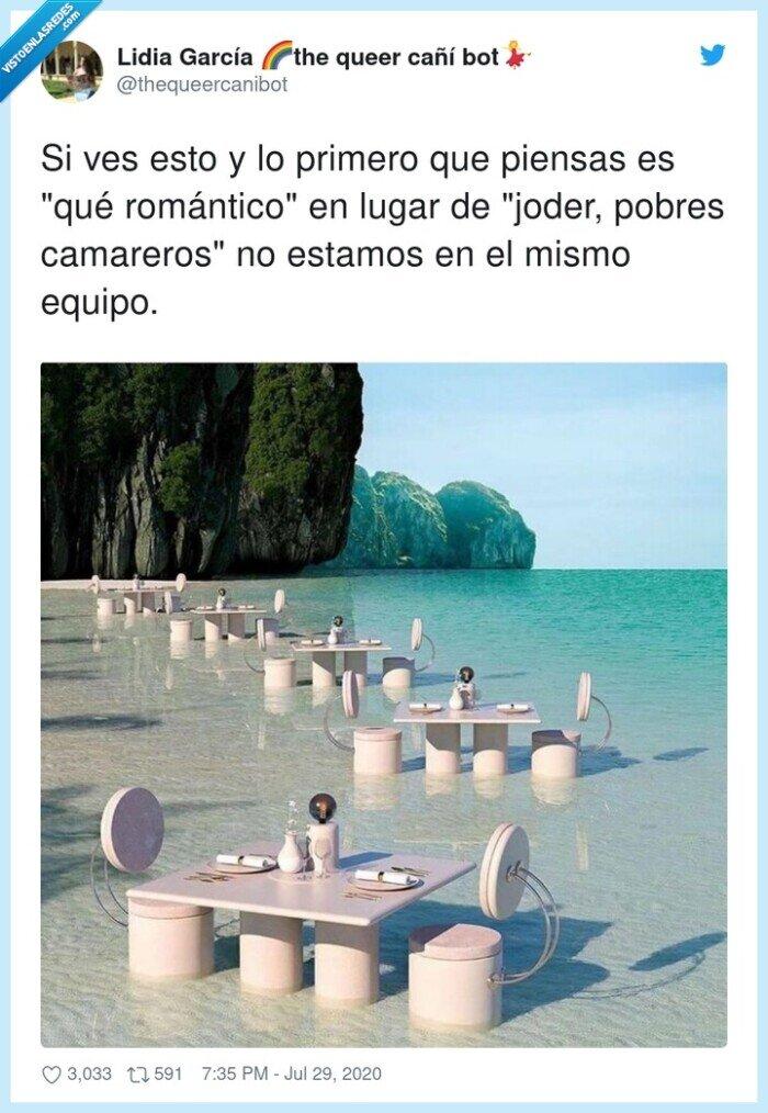 agua,camareros,cita,mar,primero,romántico