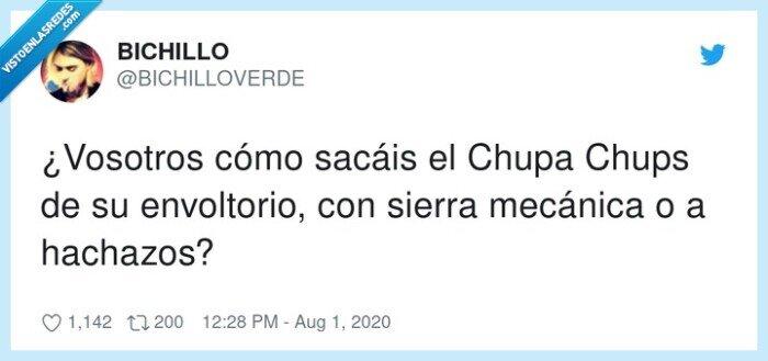 chupachups,envoltorio,hachazos,mecánica,sierra