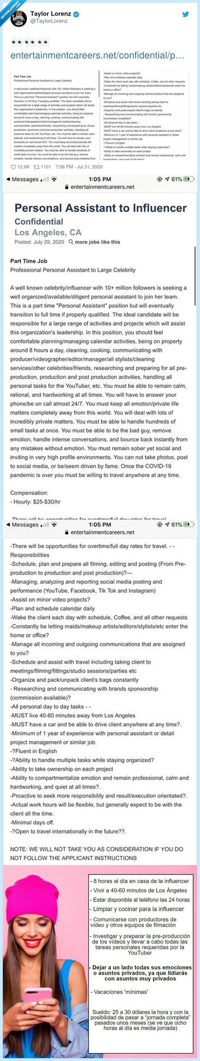 asistente,condiciones,influencer,robot,trabajo